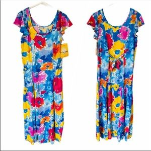 Jams World Floral Splash Flutter Sleeve Dress Sz S
